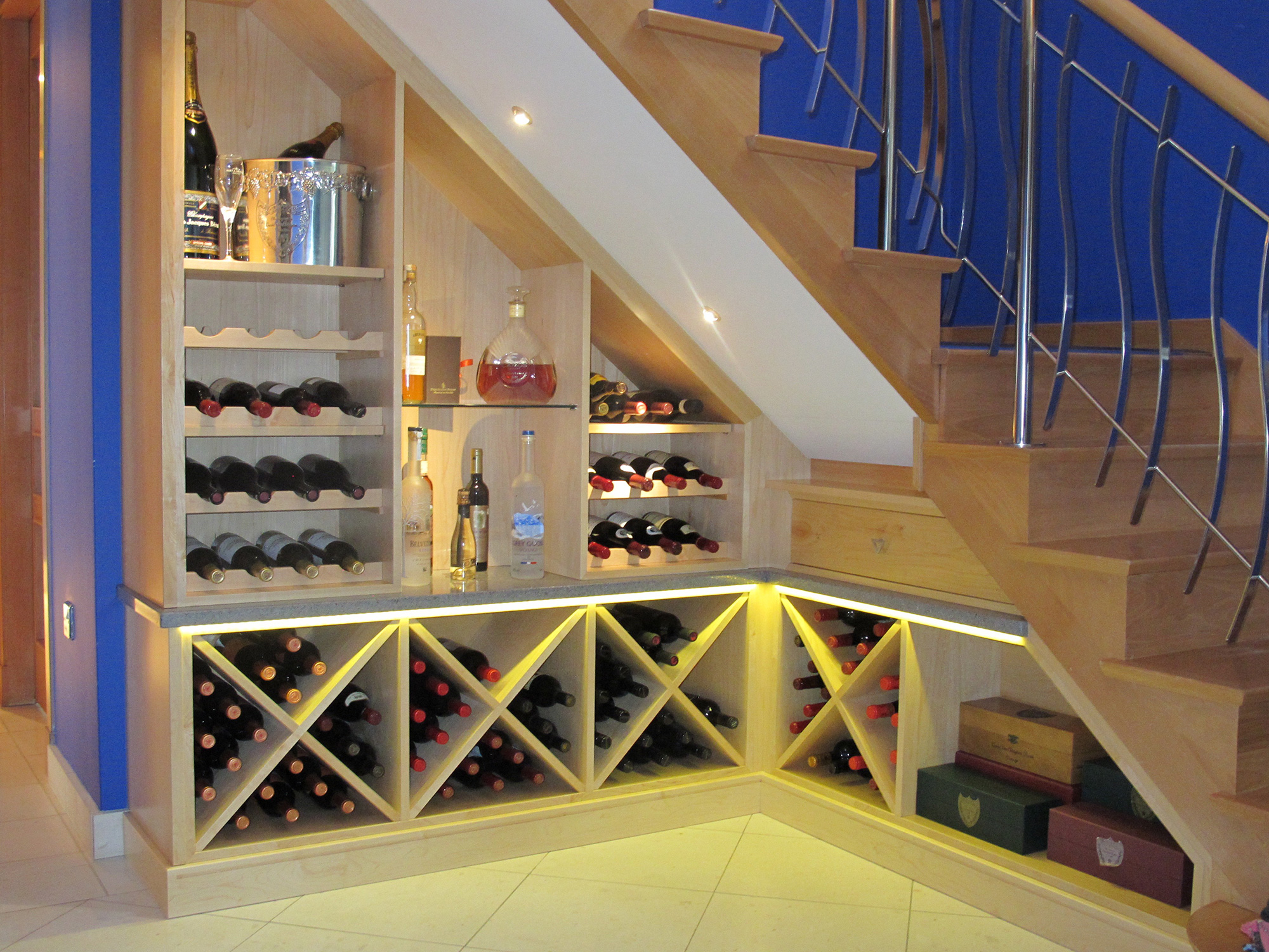 Rooms 2 Impress Custom Made Under Stairs Wine Rack And
